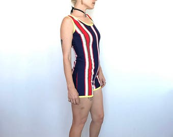 1960s / red white and blue / stripes with a yellow trim / swimsuit romper / zips up the back