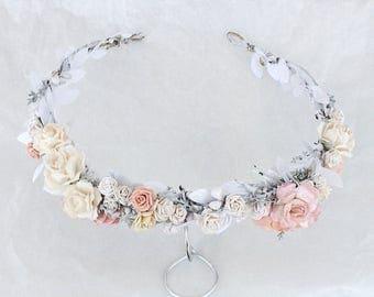 Bridal floral crown, Bridal leaf crown, Bridal headband, flowergirl crown, bridal floral crown, woodland halo, bridal wreath, flower crown