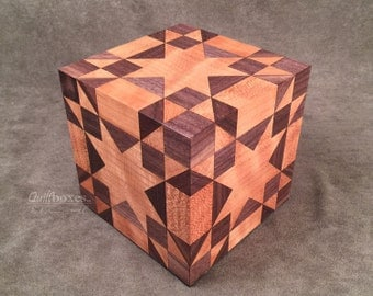 Amish Star Quilt Pattern on a Cherry Keepsake Cube by Quiltboxes