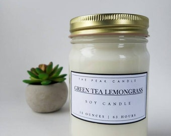 Green Tea & Lemongrass Mason Jar Candle | 12 Oz. Soy Candle