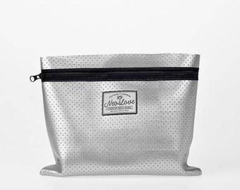 Neoprene Clutch bag - SILVER Cosmetics case, beach accessory bag, clutch bag, summer bag, surfer bag.