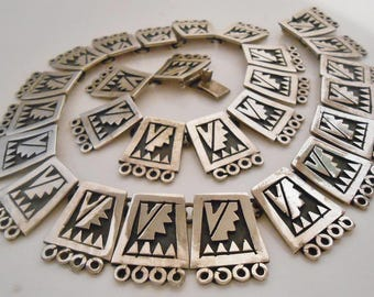 TRM Rancho Alegre Sterling Silver Panel Necklace Taxco Mexico