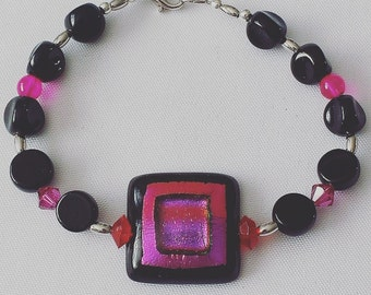Boho Chic Statement Purple, Pink, and Black Glass Beaded Bracelet