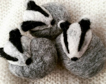 Badger Needle Felted Miniature Ornament or Brooch Gift Woodland Wool