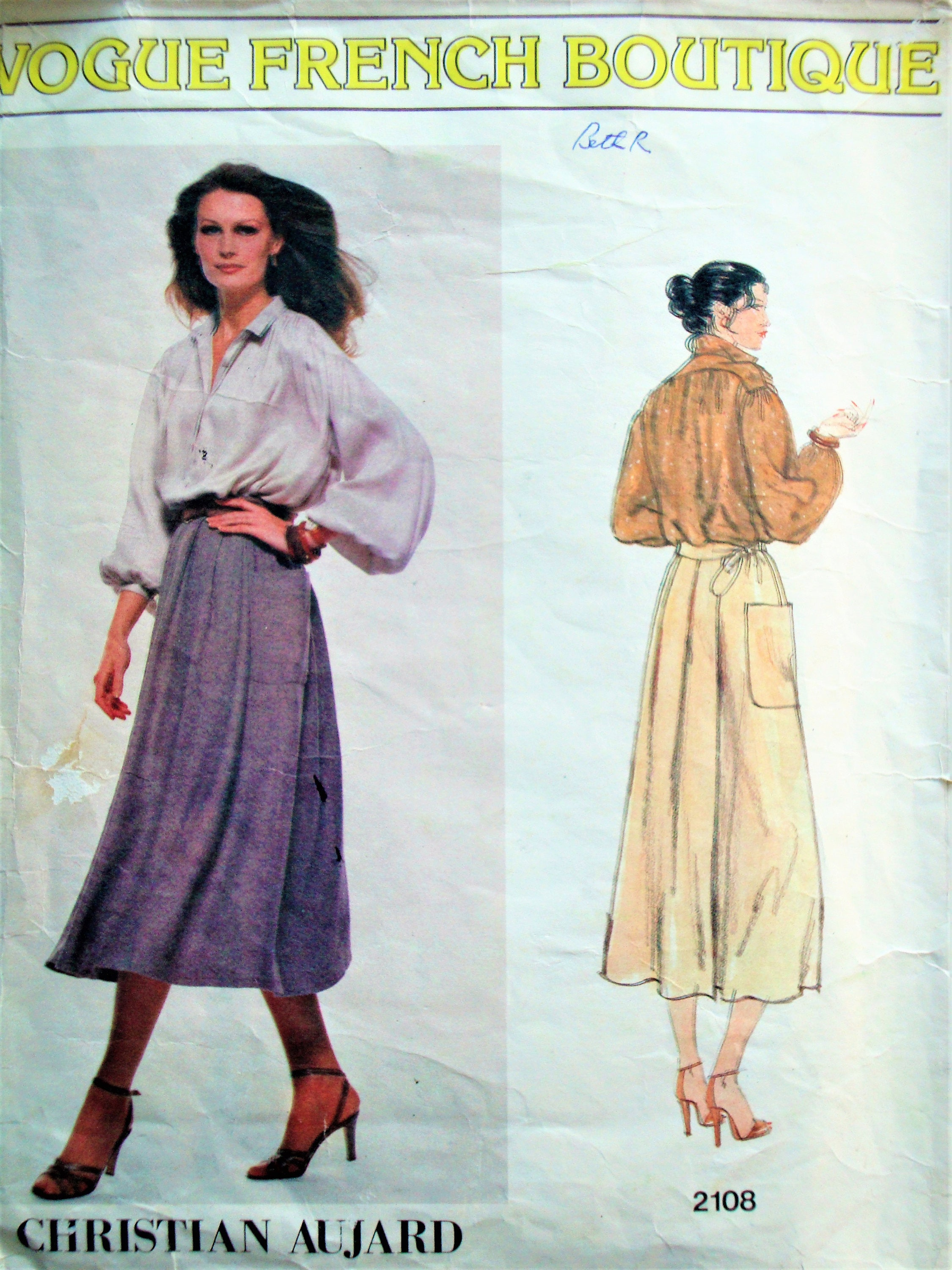 Vintage vogue french boutique sewing pattern no 2108 size 14 details vogue french boutique sewing pattern jeuxipadfo Image collections