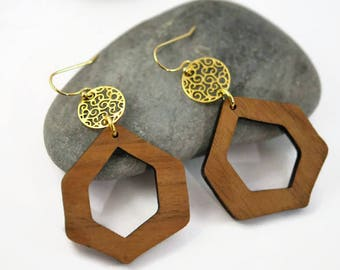 Sustainable wooden earrings, Wood dangle earrings, Walnut wood earrings, Wood and gold earring, Geometric earrings, Hexagonal drop earrings