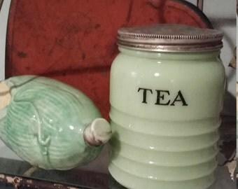 Antique Jadeite Tea Canister