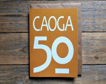 50 - Caoga card - Irish fifty card, Cártaí as Gaeilge, birthdays, milestones, anniversary, 50 card in Irish, Irish numbers