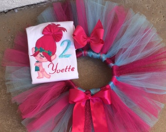 pink Troll Tutu set with bow.