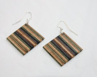 Reclaimed Skateboard Earrings Handmade Upcycled by Duque Skate Art