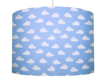 Blue and White Cloud, Cotton Fabric Drum Lampshade, Boys Bedroom Lampshade, Nursery Lampshade