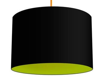 Black Linen Fabric Drum Lampshade With Contrasting Peapod Green Cotton Lining, Small Lampshade 20cm - Large Lampshade 40cm or Custom Size