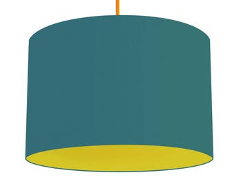 Teal Blue Linen Fabric Drum Lampshade, Contrasting Wasabi Green Cotton Lining, Small Lampshade 20cm - Large Lampshade 40cm or Custom Size