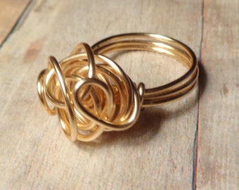 Gold Wire Ring, Swirly Ring, Size 4 5 6 7 8 9 10 11 12 13 14, 14K Gold Filled Ring, Gold Wire Wrapped Jewelry Handmade, Abstract Ring