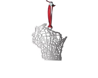 Wisconsin Christmas Ornament | Stainless Steel Cut Map| Metal Ornament | State Map