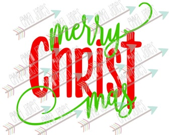 Merry Christmas / Merry CHRIST Mas - svg, dxf, eps, sil, jpeg, png