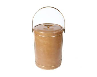 Vintage Light Brown Leather Ice Bucket with Gold Details