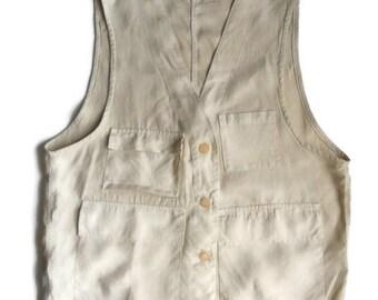 Linen man Vest Vintage Les Copains waistcoat
