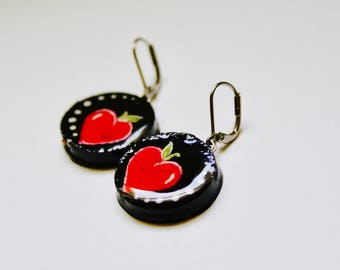 EARRINGS - personalized gift - recycled Cork hand - painted closed stainless steel hooks