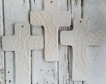MADE TO ORDER- White Lace Cross