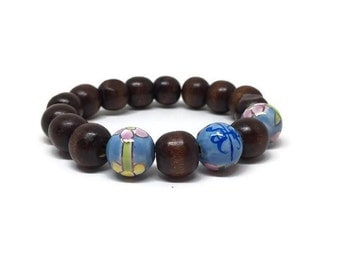 CLEARANCE - Stylish wood and ceramic aqua mix round beads bracelet
