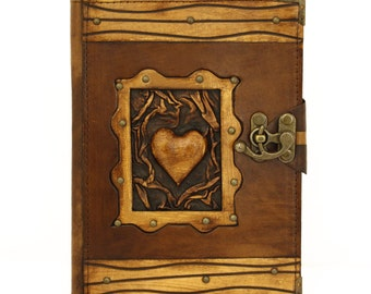Heart Brown Large Leather Handmade Journal Diary Notebook Plain Paper Book