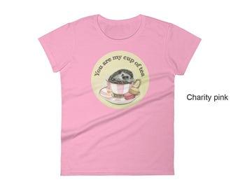 Hedgehog women's t-shirt, hedgehog t-shirt,  animal t-shirt, hedgie, hedgehog pet, hedgehog art, hedgehog in teacup, tea lover, macarons