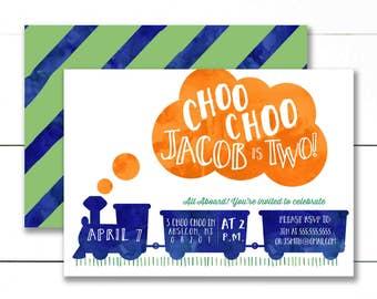 Train Birthday Invitation, Choo choo train birthday invitation, Chugga chugga two two Train Birthday Invitation- PRINTABLE/DIY