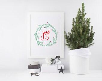 Joy Print - Joy Art - Christmas Joy Print - Christmas Print - Christmas Joy