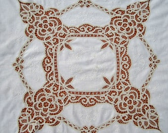 Vintage Battenburg lace tablecloth