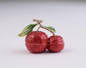 Cherry Trinket Box Decorated with Swarovski Crystals
