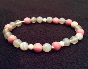 Natural stone and sterling silver beaded stretch bracelet