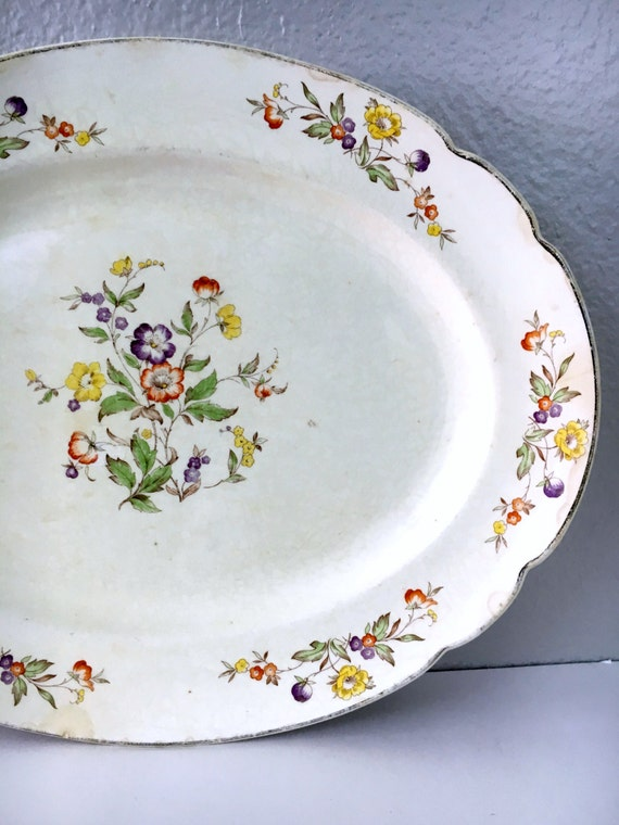 Vintage Floral Serving Platter, Oval Platter Aged with Slight Crazing, Manhattan P.C.P. Co. C33, Shabby Chic Dinnerware