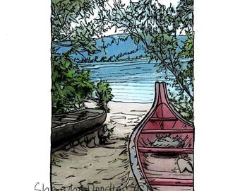 Print of Hand Doodled Photo of Captain William Clark Park along the Columbia River in Washougal WA