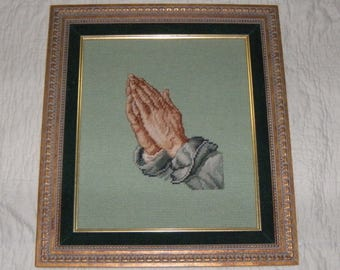 Vintage Finished Needlepoint Praying Hands Framed