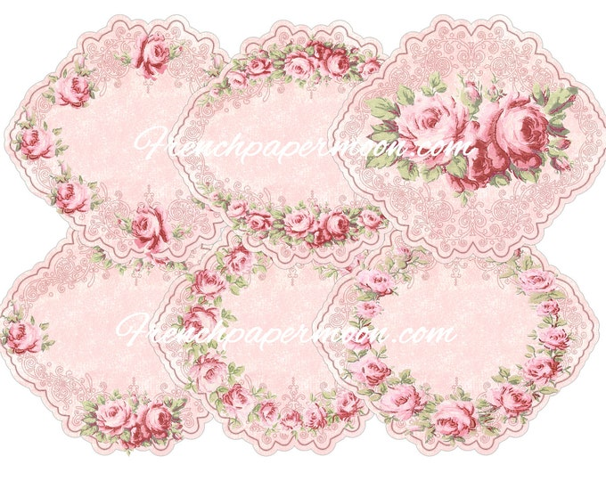 Printable Rose Tags, Scalloped Rose Tags, Digital Tags, Vintage Rose Tags, Rose Tag Collage Sheet Download