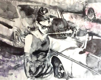 Original Watercolor Painting. Wall art. Audrey Hepburn. Breakfast at Tiffany's. Watercolor painting from romantic comedy film.