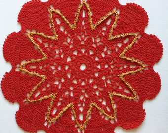 Crochet Doily Cotton Doily Round Red Lace 13.5 inches Tabletop Centrepiece