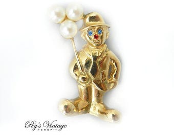 Vintage Gold Tone Clown Pin, Faux Pearl Balloons Clown Brooch Jewelry
