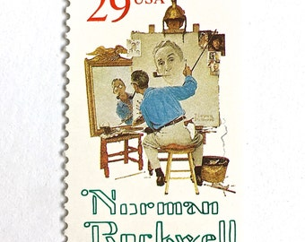 10 Norman Rockwell Postage Stamps // Americana Artist // 29 Cent Painter Stamps for Mailing
