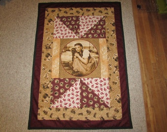 "Wizard of Oz Quilt Fabric Under the Rainbow Sepia Toned Lap Quilt 36"" x 53"""