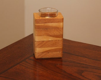 Handmade Wooden Single Tea-Lite Candle Holder Made With Multiple Woods.