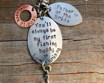 Perfect for Father of the Bride or Father's Day  Fishing keychain or lure    ships in 24 to 48 hours