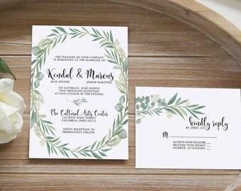 Neutral Greenery Wedding Invitation