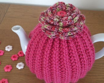 Raspberry Pink hand knitted tea cosy with a crochet flower top - to fit a Size 6 CUP (1.2 Litre) teapot - READY to SHIP