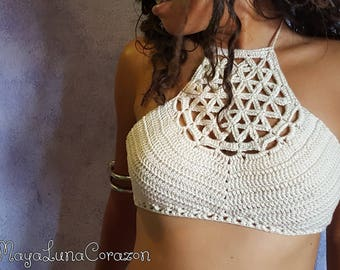 Wild Flower of Life halter top written pattern ~ Original design by MayaLunaCorazon