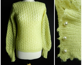 70s WOOL acrylic hand knitted crochet yellow / cream jumper sweater pearl buttons SM ~ M