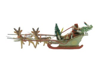 Mid Century Lighted Santa in Sleigh With Reindeer