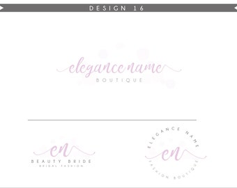 Watercolor Logo Design Branding Package Inc. Photography Logo Watermark - rose pink initials letters cute Watercolor Logo- Logo 16
