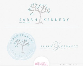 Simple Big tree -  Premade Photography Logo and Watermark, Classic Elegant Script Font WATERCOLOR TREE childrenCalligraphy Logo